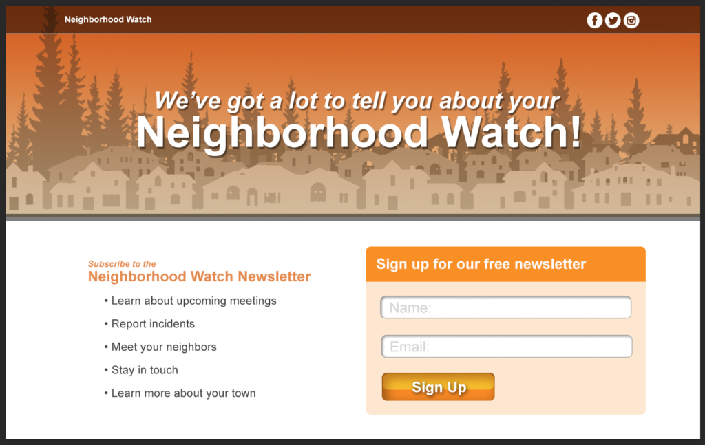 Neighborhood Watch mock-ups
